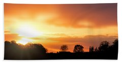 Country Sunset Silhouette Beach Towel