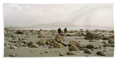 Beach Sheet featuring the photograph Couple And The Rocks by Rebecca Harman