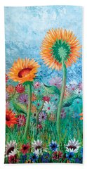 Courting Sunflowers Beach Towel