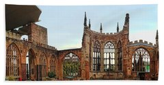 Coventry Cathedral Ruins Panorama Beach Towel
