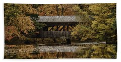 Covered Bridge At Sturbridge Village Beach Towel by Jeff Folger