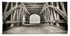 Covered Bridge B N W Beach Towel