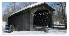 Covered Bridge In Winter Beach Sheet