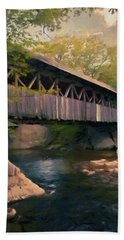 Beach Towel featuring the painting Covered Bridge by Jeff Kolker