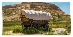 Beach Towel featuring the photograph Covered Wagon At Scotts Bluff National Monument by Sue Smith