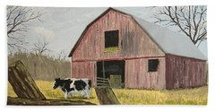 Cow And Barn Beach Sheet by Norm Starks