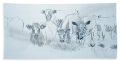 Cow Drawing Beach Towel