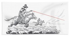 Cat Herders Use A Laser Pointer Beach Towel
