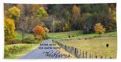 Cow Pasture With Scripture Beach Towel