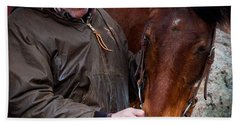 Cowboy And His Horse Beach Towel by Steven Reed