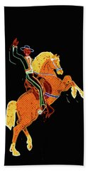 Cowboy And Horse Neon Sign Beach Towel