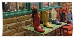 Beach Towel featuring the photograph Cowboy Boots by Dora Sofia Caputo Photographic Art and Design
