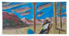 Cowboy Sitting In Chair At Sundown Beach Towel