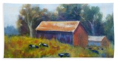 Cows By The Barn Beach Towel