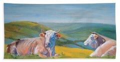 Cows Lying Down Painting Beach Towel