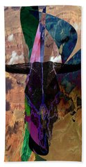 Beach Towel featuring the digital art Cowskull Over The Canyon by Cathy Anderson