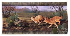 Beach Towel featuring the painting Coyote Run With Boarder by Rob Corsetti