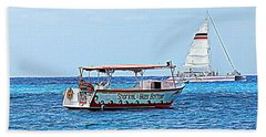 Beach Sheet featuring the photograph Cozumel Excursion Boats by Debra Martz