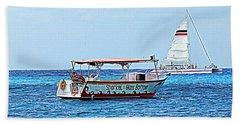 Cozumel Excursion Boats Beach Sheet by Debra Martz