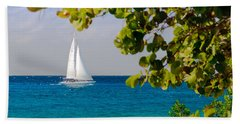 Beach Towel featuring the photograph Cozumel Sailboat by Mitchell R Grosky