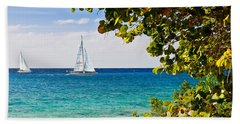 Beach Towel featuring the photograph Cozumel Sailboats by Mitchell R Grosky