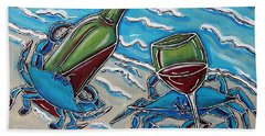 Crab Wine Time Beach Towel