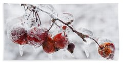 Crab Apples On Icy Branch Beach Towel
