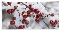Crab Apples On Snowy Branch Beach Towel