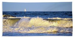 Crashing Waves And White Sails Beach Towel