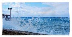 Crashing Waves In Cozumel Beach Towel by Debra Martz