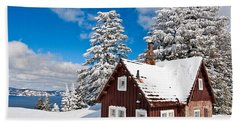 Crater Lake Home - Crater Lake Covered In Snow In The Winter. Beach Towel