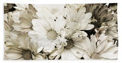 Crazy Daisies In Black And White Beach Sheet by Andee Design