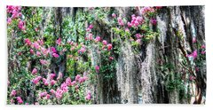 Crepe Myrtle And Spanish Moss Beach Sheet