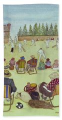 Cricket On The Green, 1987 Watercolour On Paper Beach Towel by Gillian Lawson