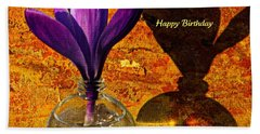 Crocus Floral Birthday Card Beach Towel