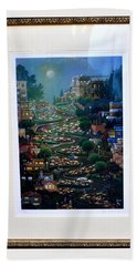 Beach Towel featuring the photograph Crookedest Street In The World by Jay Milo