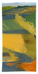 Beach Towel featuring the painting Crop Fields by Erin Fickert-Rowland