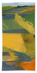 Beach Sheet featuring the painting Crop Fields by Erin Fickert-Rowland