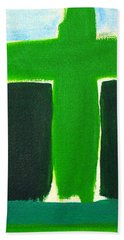 Green Cross On Hill Beach Towel