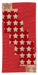 Cross Through Sparkle Stars On Red Silken Base Beach Towel by Navin Joshi