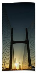 Crossing The Severn Bridge At Sunset - Cardiff - Wales Beach Towel by Vicki Spindler