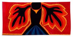 Crow Rising Original Painting Beach Sheet by Sol Luckman