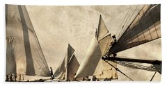 A Vintage Processed Image Of A Sail Race In Port Mahon Menorca - Crowded Sea Beach Towel