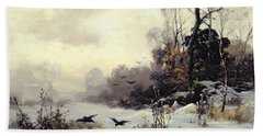 Crows In A Winter Landscape Beach Sheet by Karl Kustner