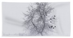 Crows On Tree In Winter Snow Storm Beach Sheet