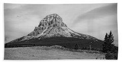 Crowsnest Mountain Black And White Beach Sheet