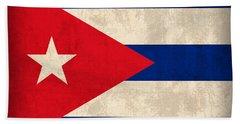 Cuba Flag Vintage Distressed Finish Beach Towel
