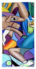 Cubist Tennis Player Beach Towel