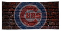 Cubs Baseball Graffiti On Brick  Beach Sheet by Movie Poster Prints