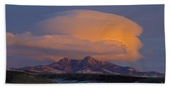 Cumulus Cloud Cap Over Heart Mountain   #2022 Beach Towel by J L Woody Wooden
